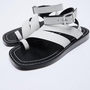 Zara White & black Leather ankle strap Sandals